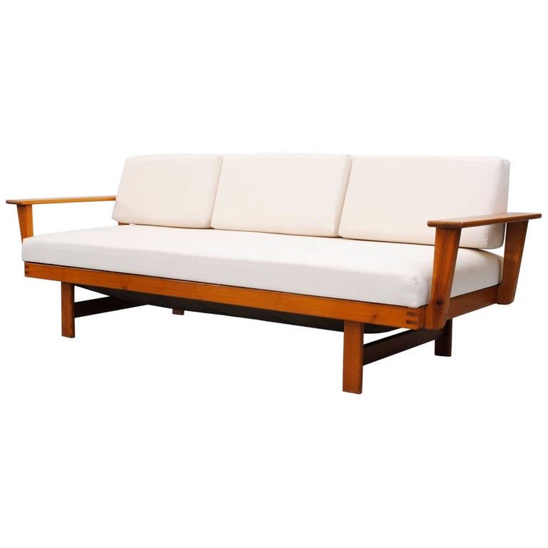 Midcentury Pine Sleeper Sofa with Upholstered Cushions at 1stdibs