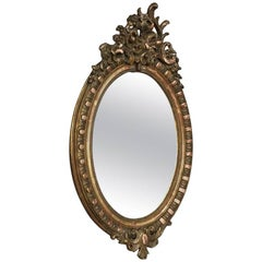 19th Century French Louis XV Oval Gilded Mirror