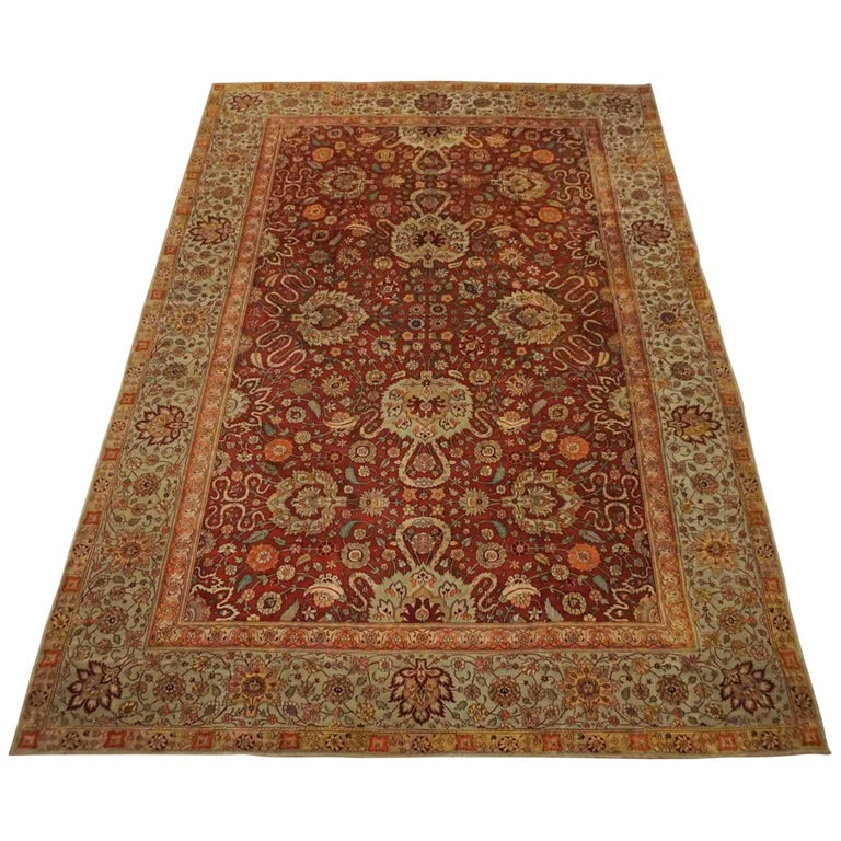 Antique Cotton Agra Rug With Abrash Circa 1900 For Sale