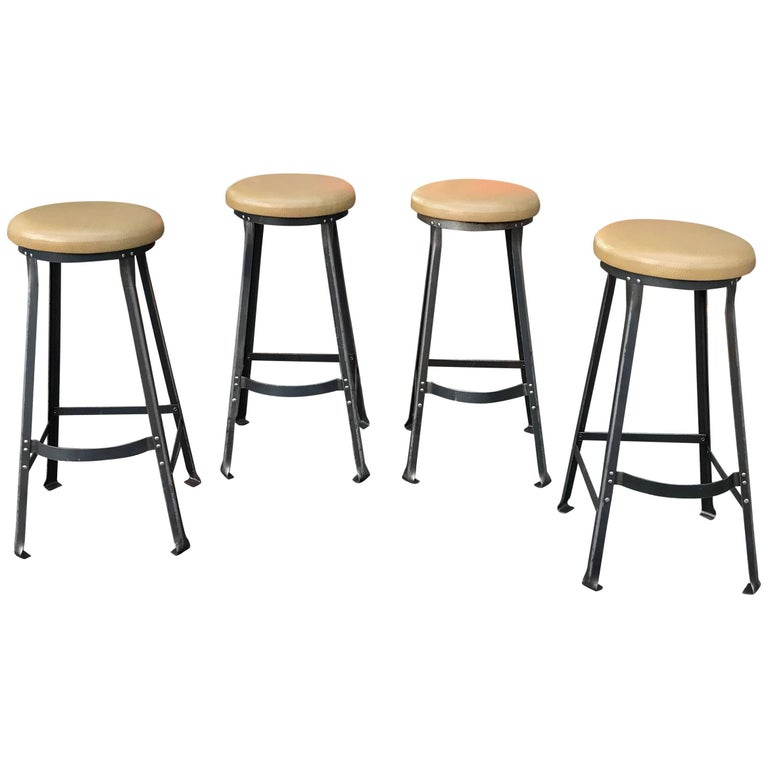 Industrial Midcentury Angle Iron and Faux Ostrich Barstools For Sale