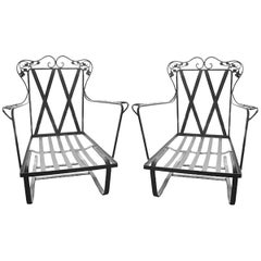 Pair of Woodard Orleans Wrought Iron Bounce Rockers