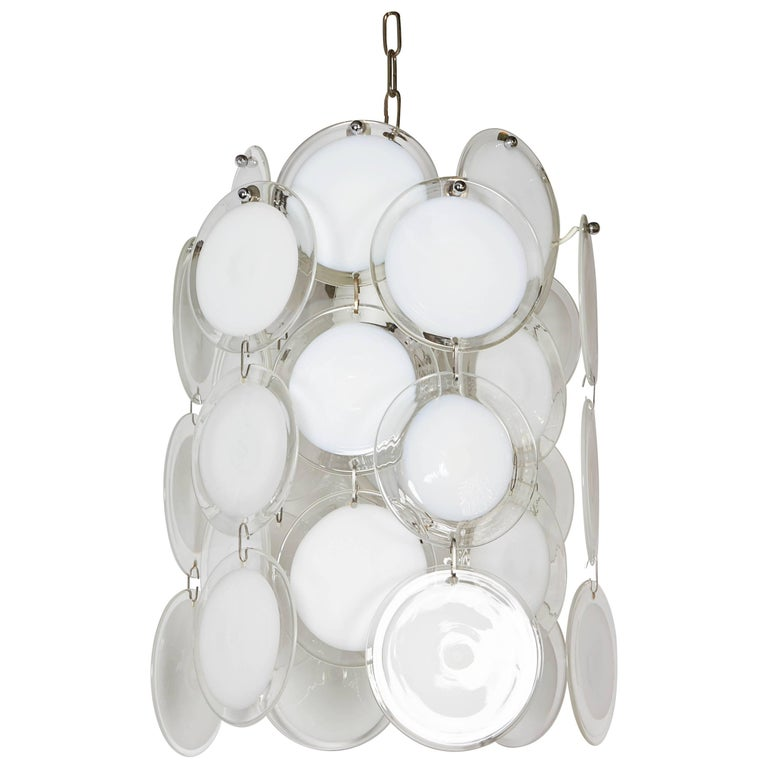 Italian 1970s Vistosi White and Clear Glass Disc Chandelier