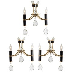 Italian 1940s Brass, Black Enamel and Crystal Sconces