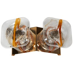 Italian 1970s Modern Gold-Plated and Glass Sconce or Ceiling Light