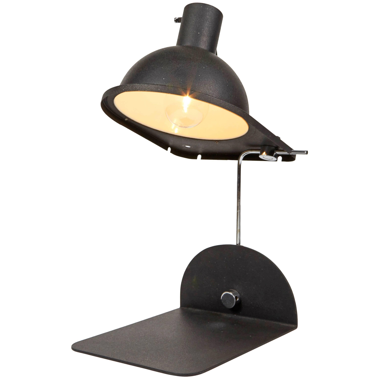 1970 Black Satin Italian Table Lamp by Luci Design Grignani