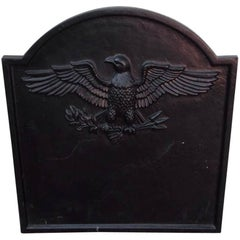 American Federal Cast Iron and Painted Eagle Fire Back, Circa 1820
