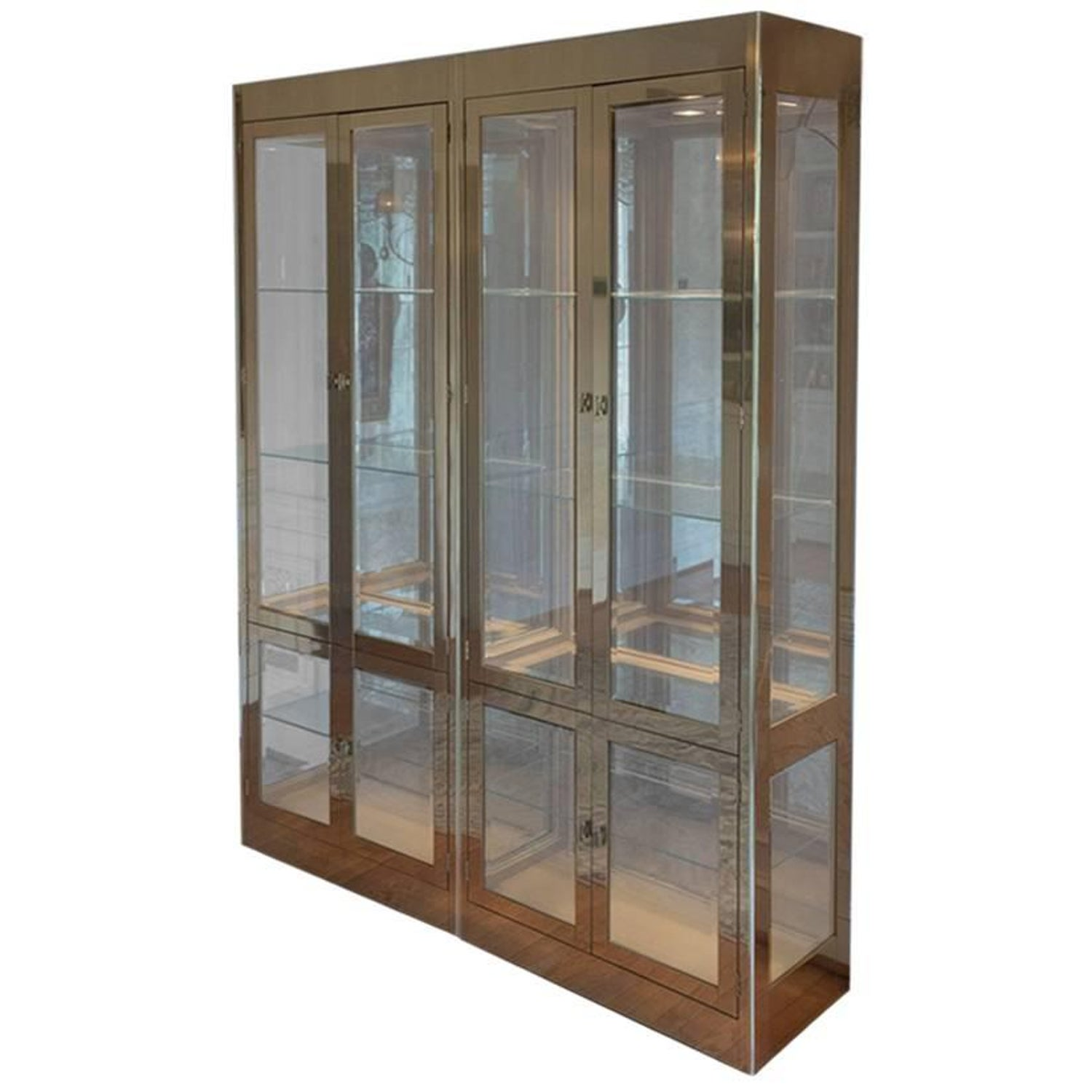 Pair Of Mid Century Modern Brass And Glass Mastercraft Curio Cabinets