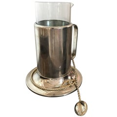 Mid-Century Modern Gucci Silver & Gold-Plated with Glass Martini Pitcher & Spoon
