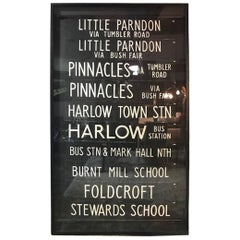 Framed 1970s United Kingdom Vintage Trolley/Bus Scrolls/ Signs