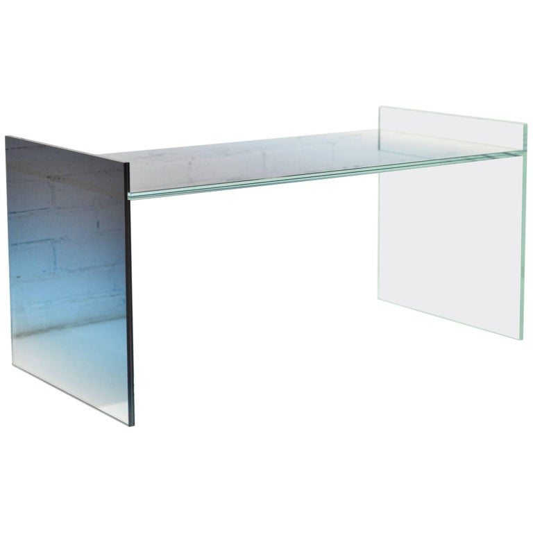 Ombre Glass Coffee End Table Low in Blue / Clear Glass
