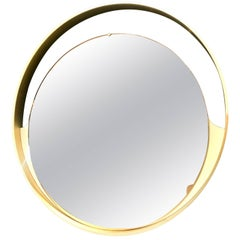 Italian, 1970s Big Round Mirror with Brass Frame