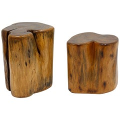 Pair of Organic Free-Form Wood Stump Side Tables or Stools