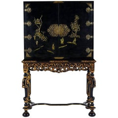 Chinoiserie-Style Ebonized Dry Bar
