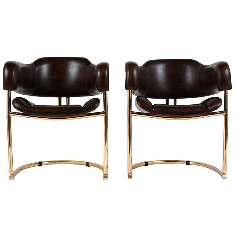 Pair of Mid-Century Modern Leather and Chrome Armchairs