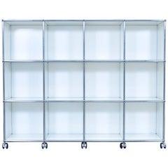USM Haller Designer Sideboard White Wheels Office Shelf