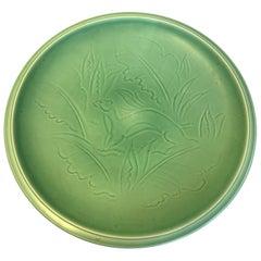 Green Glazed Stoneware Dish, Nils Thorsson from Aluminia, 1950s, Denmark