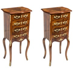 19th Century Pair of French Burr Walnut Bedside Cabinets