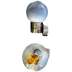 Mazzega mid-century Murano glass Sconce chrome frame pair, 1970