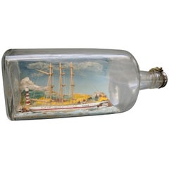 Vintage English Diorama Ship in a Gin Bottle