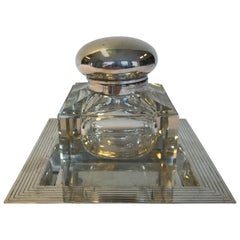 Silver and Crystal Inkwell from 1920s Denmark Copenhagen, Master Stamp C.H.F