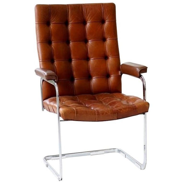 De Sede RH-304 Leather Robert Haussmann Cantilever Office Desk Chair, Bauhaus
