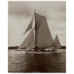Yacht Winifred, Yawl, Early Silver Photographic Print by Beken of Cowes