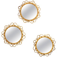 Trio of Spanish Mid-Century Modern Bamboo & Wicker Circular Flower Burst Mirrors