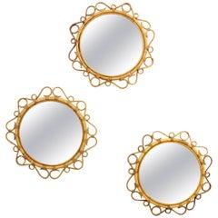 Trio of Spanish Mid-Century Modern Bamboo & Wicker Circular Flower Burst Mirrors