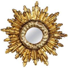 Unusual Baroque Style Silver and Gold Giltwood Mini Sunburst Mirror, Spain 1920s
