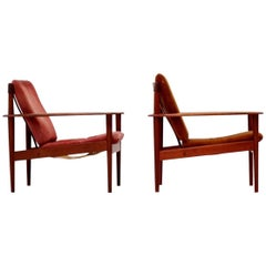 Set of Two Chairs by Grete Jalk for Poul Jeppesen Danish Leather Lounge Armchair