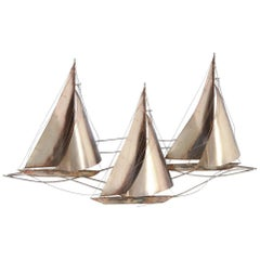 Large Wall Sculpture of Sailboats Curtis Jere, 1977