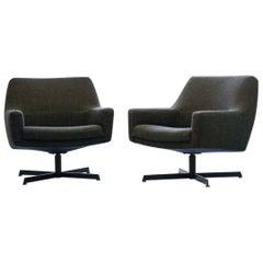 Set of Two Early Dieter Wäckerlin Waeckerlin Armchair Lounge Easy Swivel Chair