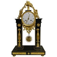 French First Empire Marble and Ormolu Portico Clock, circa 1800