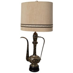 Large Vintage Table Lamp from Decorative Indian Brass Teapot
