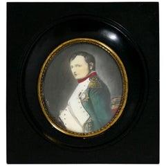 Antique French Miniature Painting Signed, Portrait Napoleon Bonaparte