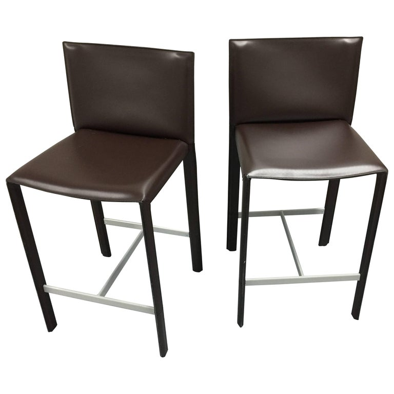 Modern Italian Leather Counter Stools Set Of Two For Sale