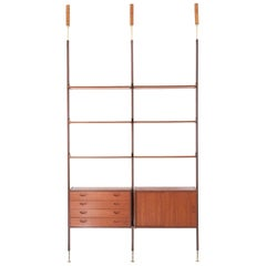 Italian Teak and Brass Floor to Ceiling Wall Unit, 1950s