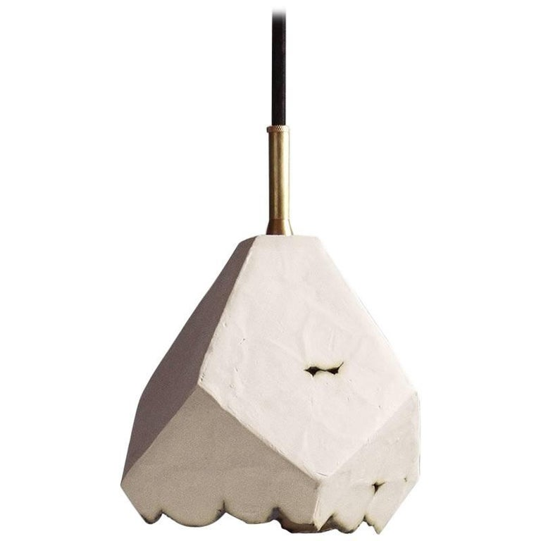 Relic Large Geometric White Porcelain and Brass Modern Pendant Lamp For Sale