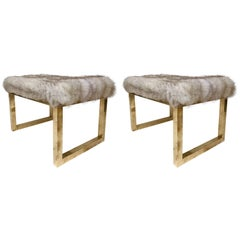 Pair of Contemporary Poufs Stools Brass and Silver Wolf, Italy