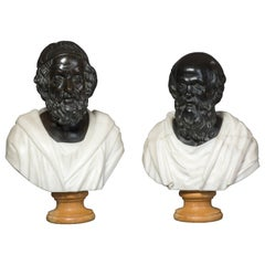 Pair of Bronze and Marble Busts of Socrates and Homer, circa 1900