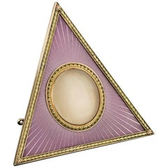 Manner of Faberge Two-Color Gold-Mounted and Guilloche Enamel Photograph Frame