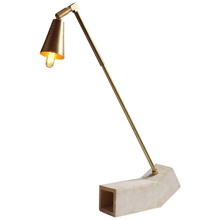 'Conduit' Brutalist White Unglazed Ceramic and Raw Brass Desk Lamp