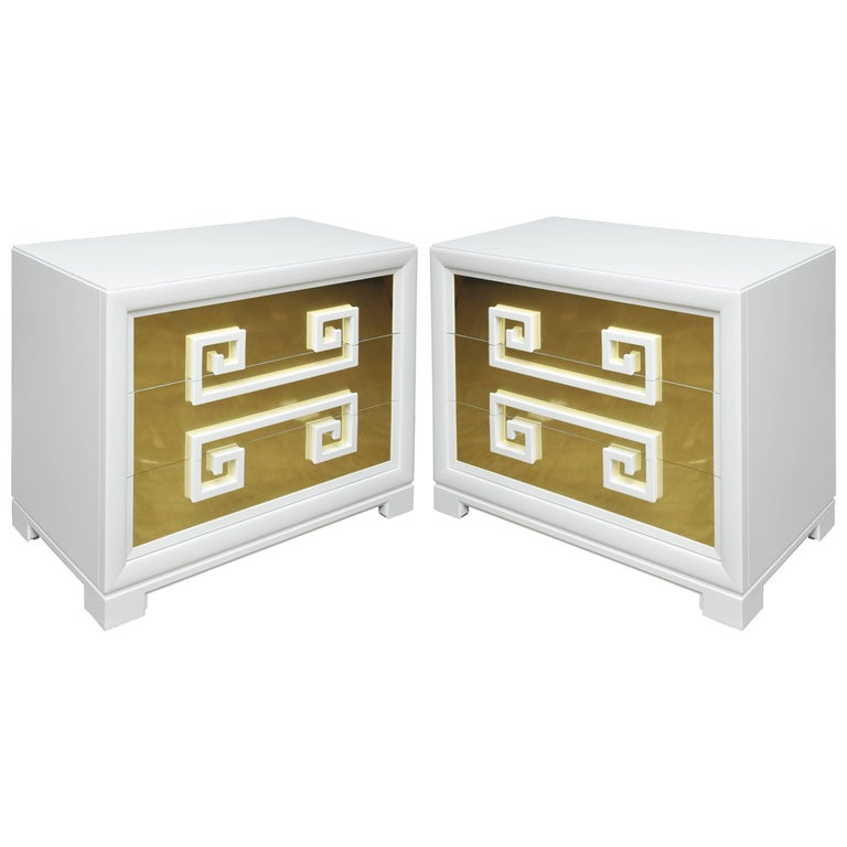 """American Kittinger """"Greek Key Chests"""" in White Lacquer with Brass-Clad Drawer Fronts For Sale"""