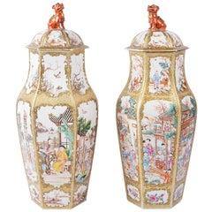 Large Pair of 18th Century Mandarin Vases