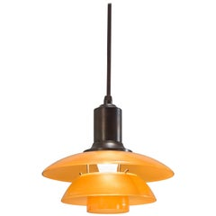 Poul Henningsen Danish Amber Glass and Patinated Copper PH-2 Pendant Light