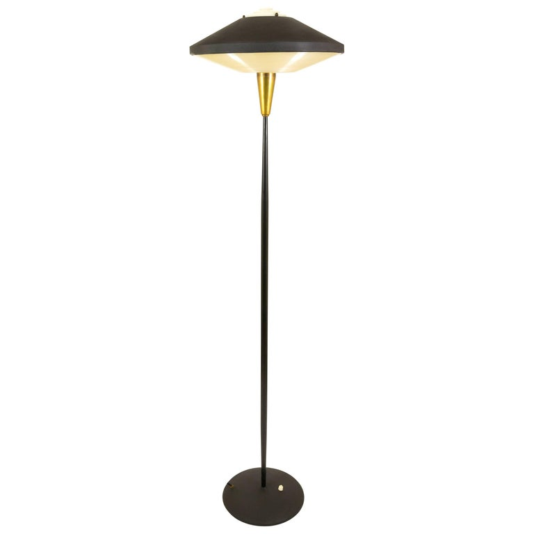 Black Floor Lamp by Louis Kalff for Philips in Metal and Brass, 1950s