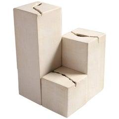 Rift, Hand-Carved Modern White Geometric Unglazed Porcelain Vases, Set of Three