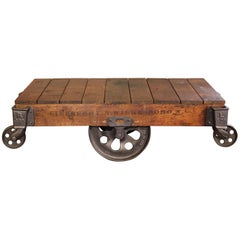 Vintage Industrial Rustic Wood and Cast Iron Factory Coffee Table Rolling Cart