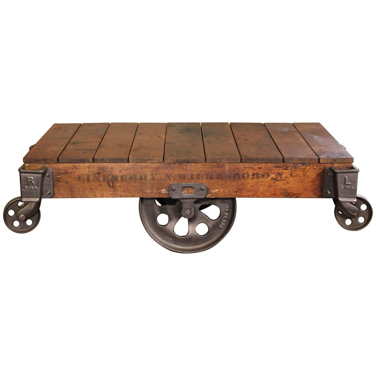 Antique Industrial Cart Coffee Table