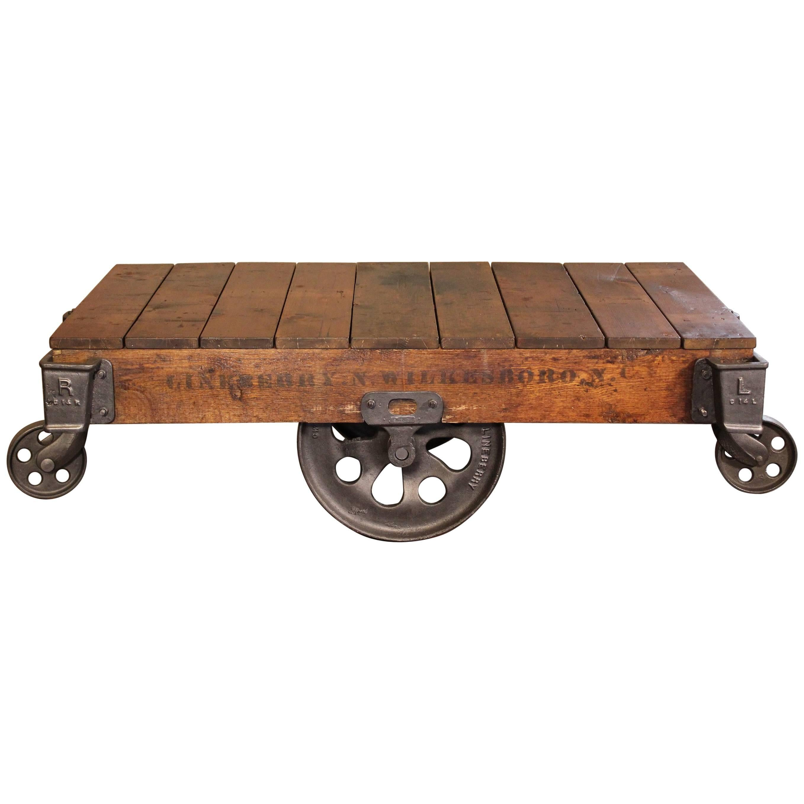 Vintage Industrial Rustic Wood And Cast Iron Factory Coffee Table Rolling  Cart For Sale